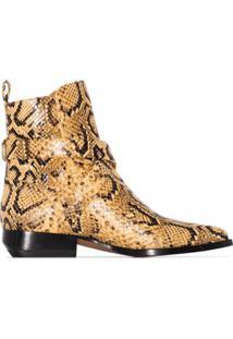 Chloé Ankle Boot Rylee Com Efeito Pele De Cobra - Amarelo