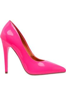 Scarpin Bico Fino Verniz Neon Salto Alto Di Scarp Feminino - Feminino-Pink