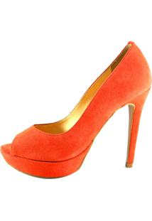 79e1e257d ... Peep Toe Infinity Shoes Meia Pata Laranja