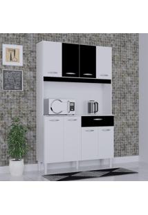 Cozinha Compacta 8 Portas 1 Gaveta Kit Cássia 6171 Branco/Preto - Poquema