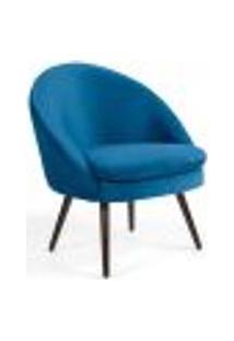 Poltrona Decorativa Fixa Pés Palito Rafa D02 Veludo Azul B-170 - Lyam Decor
