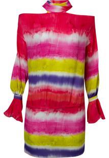 Mini Vestido Listra Tie Dye Fluor (Estampado, 38)