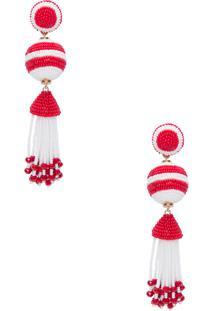 Brinco Miçanga Três - Vermelho E Branco