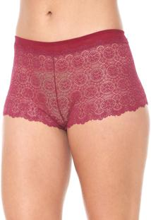 Calcinha Calvin Klein Underwear Caleçon Renda Vinho - Kanui