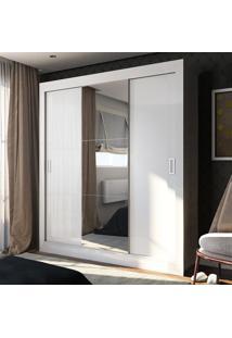 Guarda-Roupa Casal 3 Portas De Correr Com Espelho Ana Ultra Branco - Pnr Móveis