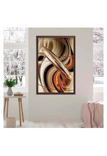 Quadro Love Decor Com Moldura Abstrato Madeira Escura Médio