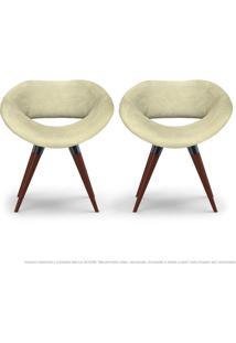 Kit 02 Poltronas Beijo Areia Cadeiras Decorativas Com Base Fixa De Madeira