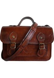Bolsa Line Store Leather Satchel Mini Couro Conhaque Vintage. - Marrom - Feminino - Dafiti