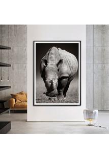 Quadro Com Moldura Chanfrada Rinoceronte Grande - Multicolorido - Dafiti