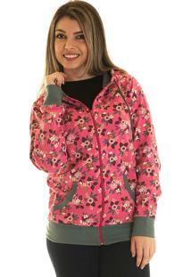 Jaqueta De Moletom Konciny Estampada 8501416 Rosa