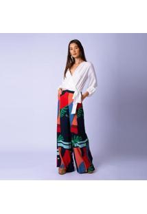 Calça Estampada Detalhe Bolso Ritmo Mercatto Feminina - Feminino