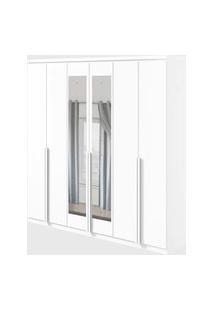 Guarda Roupa Casal C/ Espelho 6 Portas 4 Gavetas Alonzo Branco Móveis Lopas