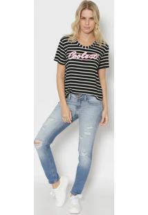 "Camiseta Listrada ""Coolest"" - Preta & Brancatriton"