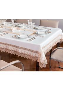 Toalha De Mesa Retangular 8P Jolitex Rendada Paris Branco/Dourado