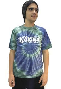 Camiseta Narina Skate Tie Dye Logo Verde E Azul