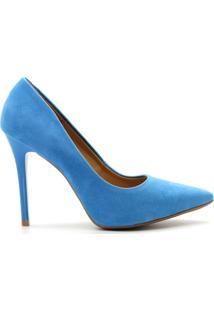 Scarpin Royalz Nobuck Salto Alto Fino - Feminino-Azul