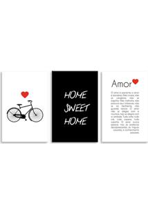 Quadro Oppen House 60X120Cm Amor é Paciente Canvas - Oppen House Decora - Branco/Multicolorido/Preto/Vermelho - Dafiti