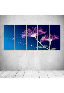 Quadro Decorativo - Beautiful Pink Animation With Blue Background - Composto De 5 Quadros