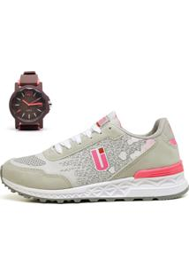 Kit Tênis Ousy Shoes Running Lançamento + Relógio Cinza Rosa - Kanui