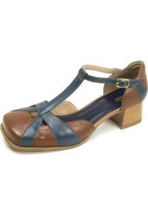 Sapato Retrô Bico Quadrado Dhl Feminino Marrom E Marinho - Kanui
