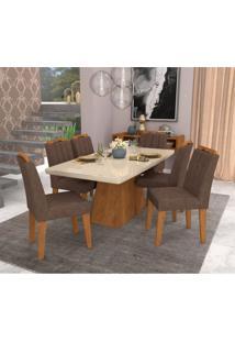 Conjunto De Mesa De Jantar Retangular Helen Com 6 Cadeiras Elisa Suede Cacau E Off White