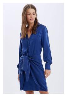 Vestido Seda Pool Azul Pool