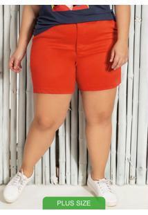 Shorts Plus Size Em Sarja Com Bolso Laranja