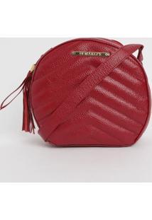Bolsa Em Couro Matelass㪠Com Bag Charm- Vermelha- 20Di Marlys