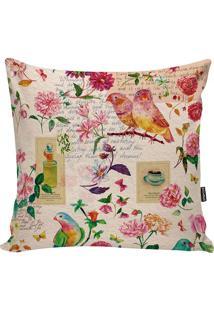 Capa De Almofada Birds- Bege & Pink- 42X42Cm- Ststm Home