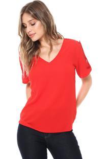 Blusa Ana Hickmann Decote V Vermelha