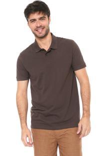 Camisa Polo Hering Reta Básica Marrom