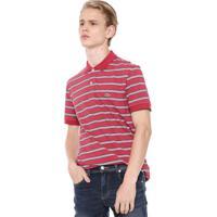 0bb1091e7c6 Camisa Polo Lacoste Reta Listras Vermelha