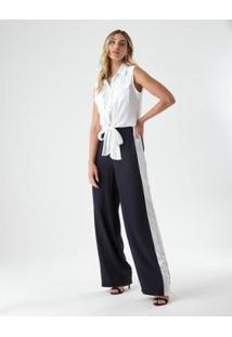 Calça Bicolor Lateral Pantalona - Zinzane Feminina - Feminino