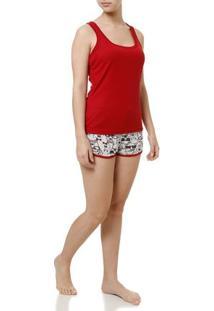 Pijama Curto Feminino Vermelho