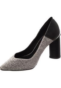 Scarpin Butique De Sapatos Lurex Prata Preto