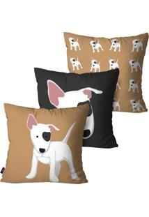 Kit Com 3 Capas Para Almofada Pump Ups Decorativas Dog 60X60Cm