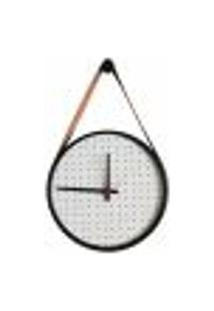 Relógio Adnet Preto Alça Caramelo Mostrador Branco Perfurado 40 Cm