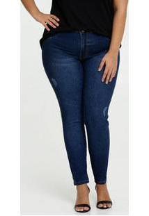 Calça Feminina Jeans Skinny Puídos Plus Size Biotipo