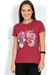 Blusa T-Shirt Vermelha Com Estampa