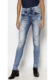 Jeans Skinny Estonado Com PuãDos - Azul- Tuaregtuareg