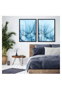 Quadro 65X90Cm Dente De Leáo Flores Minimalista Tons Azuis Moldura Preta Decorativo Interiores