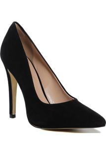 Sapato Scarpin Feminino Zariff Bico Fino Camurça Preto