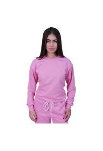 Blusa Moletom Plus Size Lisa Fechada Rosa
