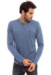 Camiseta Aleatory Básica Manga Longa Freedom Masculina - Masculino-Azul