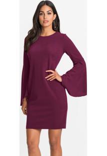 Vestido Com Mangas Flare Violeta