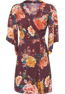 Vestido Curto Floral Linda Farm – Vinho