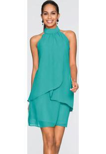 Vestido Gola Alta Em Camadas Verde