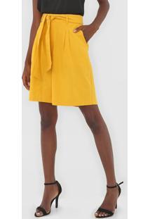 Bermuda Enna Alfaiataria Amarela - Amarelo - Feminino - Algodã£O - Dafiti