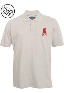 Camisa Polo Manga Curta Polo Club Logo Bege