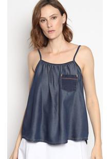 Blusa Jeans Com Franzidos- Azul Escuroenna